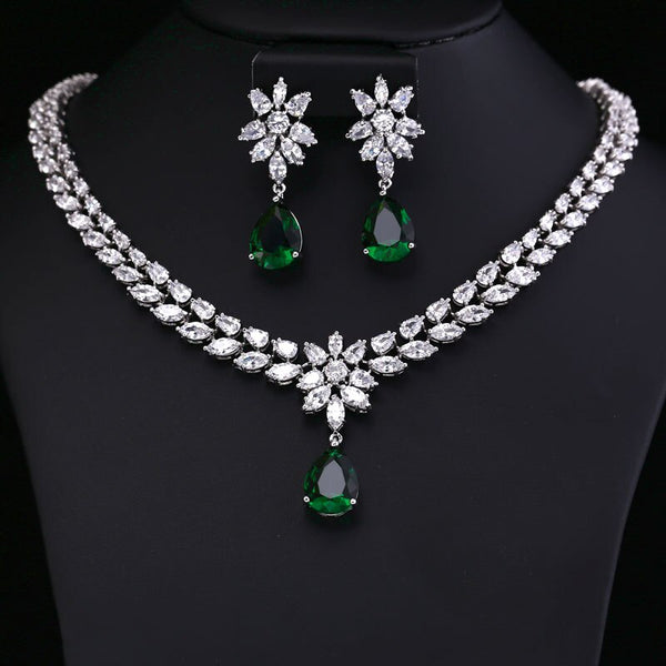 Crystal Zircon Earring Necklace Jewelry Set -  100007324 - ShaadiMagic