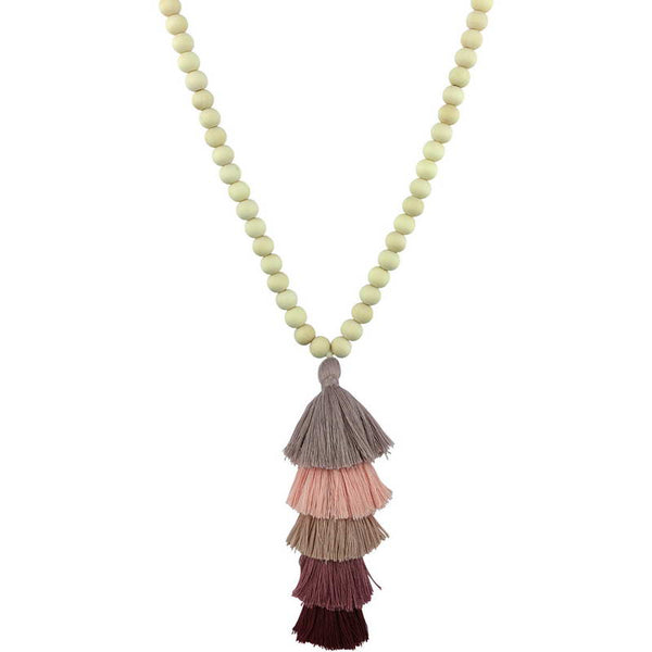 Natural Ivory White Wood Beaded Necklace -  200000162 - ShaadiMagic