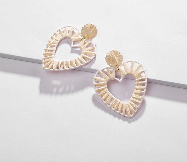 Color Block Big Heart Shape Raffia Earring -  200000168 - ShaadiMagic