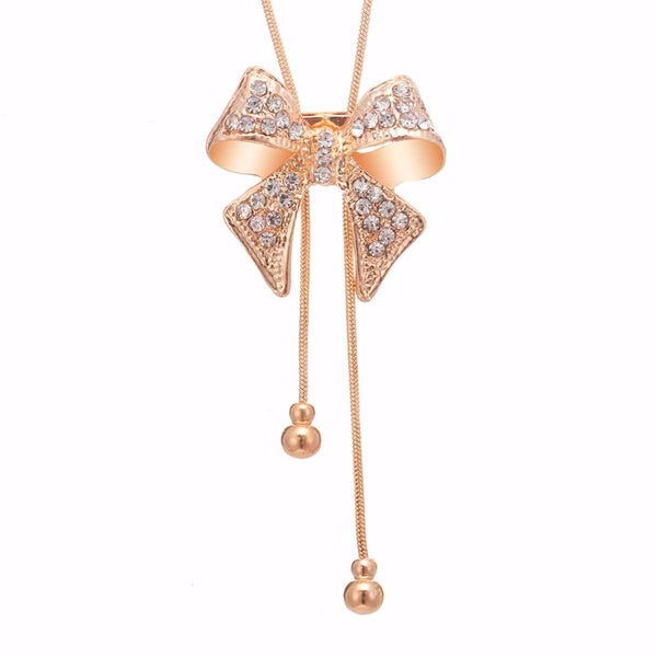 Bow Style Long Stylish Necklace -  200000162 - ShaadiMagic