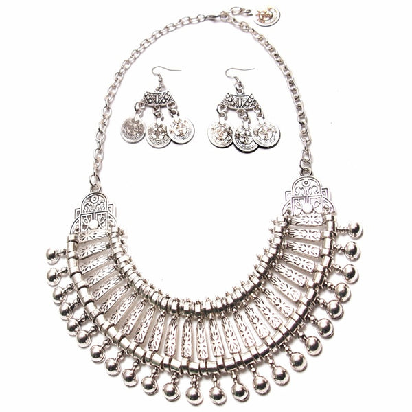 Hippie Style Pendant Earrings Necklace -  200000162 - ShaadiMagic
