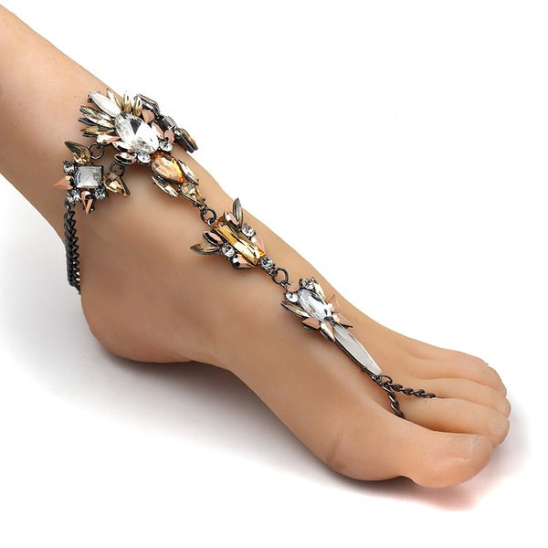 Crystal Anklet Beach Bracelet Sandals -  200000141 - ShaadiMagic