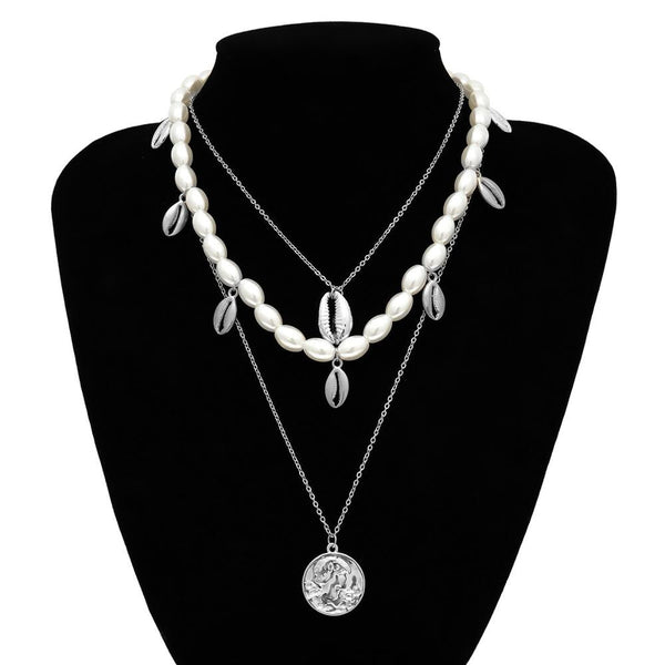 Pearl Choker Seashell Pendant Necklace -  200000162 - ShaadiMagic