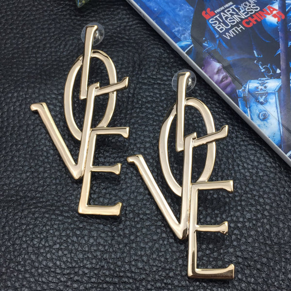 Gold & Silver Letter Love Earrings -  [product_type] - ShaadiMagic