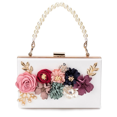 Pearl Flower Cross Body Hardbox Handbag -  [product_type] - ShaadiMagic