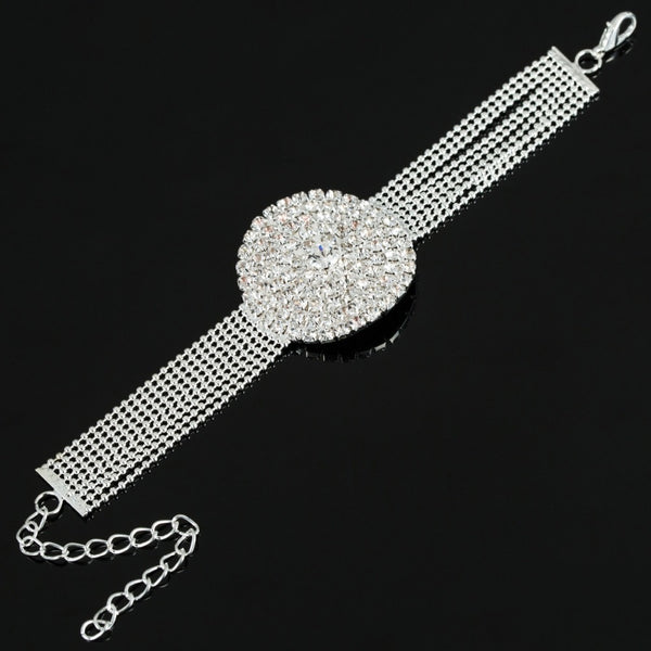 Silver Round Crystal Chain Bridal Bracelet -  [product_type] - ShaadiMagic