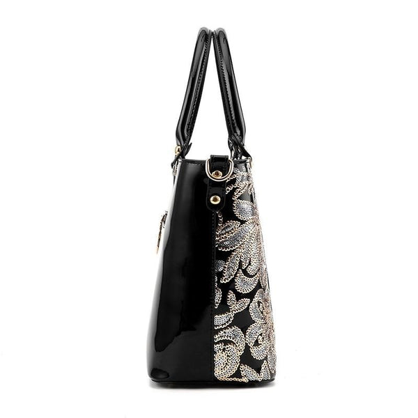 Sequin Embroidery Patent Leather Bag -  [product_type] - ShaadiMagic