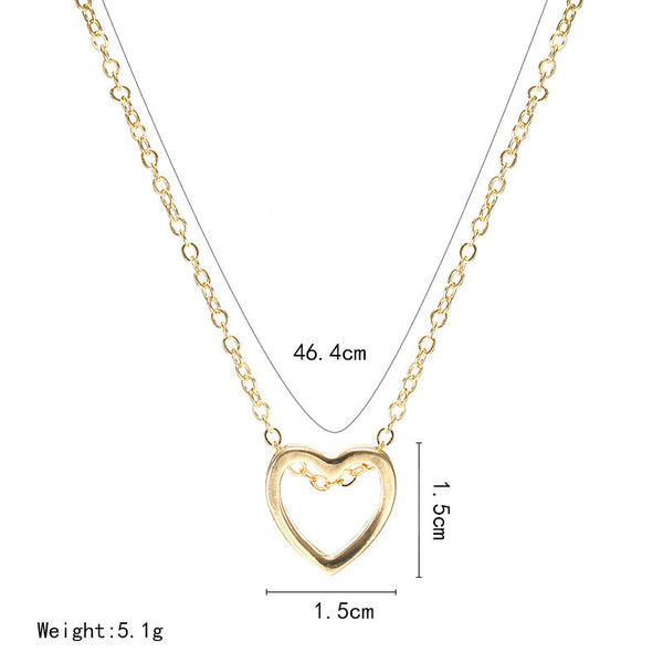 Heart Pendant Necklace Black Silver Gold