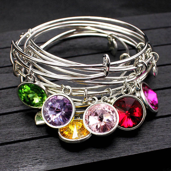Birthstone Adjustable Expandable Crystal Bangle Bracelet -  [product_type] - ShaadiMagic