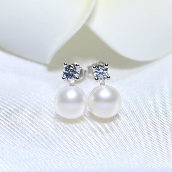 Natural Freshwater Pearl Stud 925 Sterling Silver Earrings -  [product_type] - ShaadiMagic
