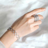 2 in 1 Flexible Ring Bracelet in Silver & Rose Gold