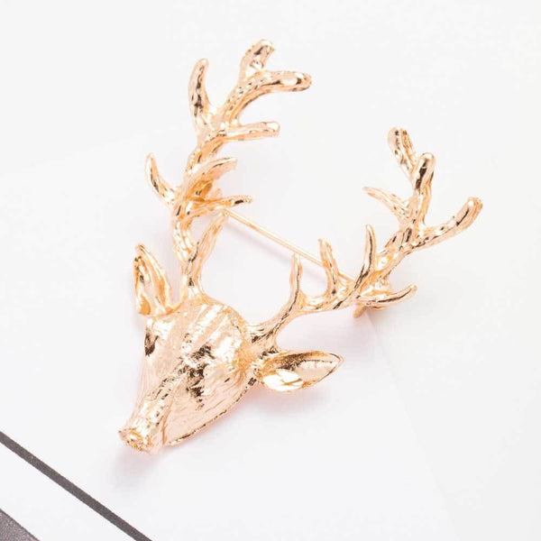 Unisex Gold Antlers Head Brooch -  [product_type] - ShaadiMagic
