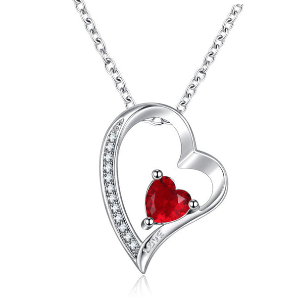 Love Rose Zircon Necklaces Heart Pendant -  [product_type] - ShaadiMagic