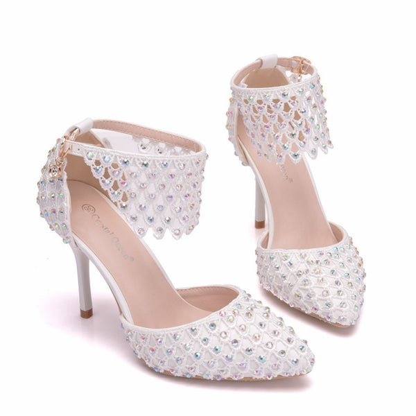 Pearl Bud Mesh Stiletto Pointed Heels -  [product_type] - ShaadiMagic