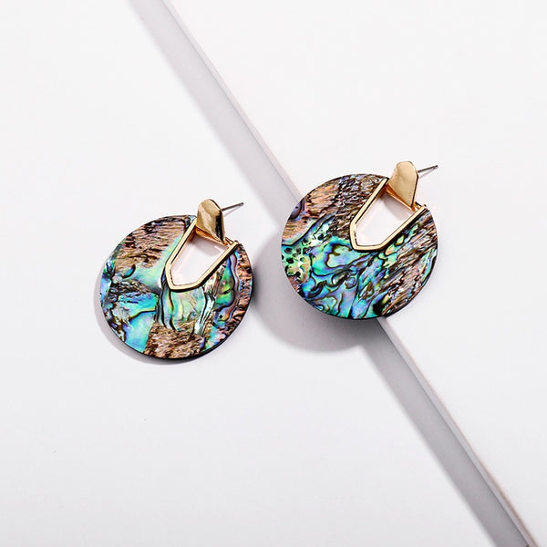 Colorful Resin Acrylic Round Earrings