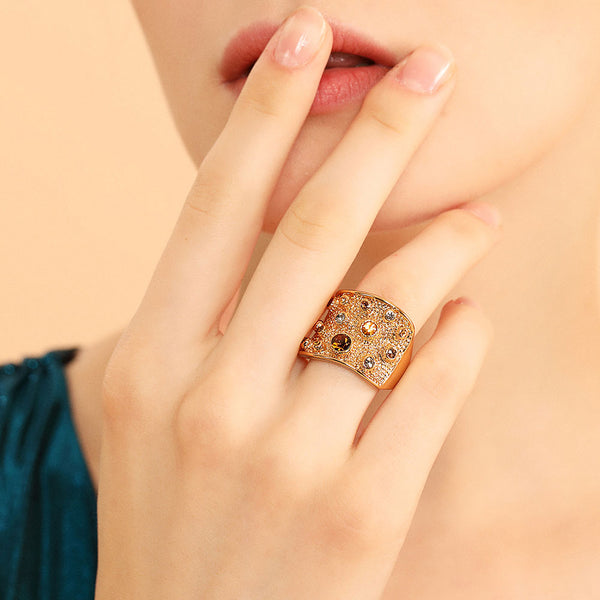 Wide Gold Multicolored Stone Ring -  [product_type] - ShaadiMagic
