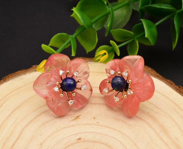 Natural Lapis Lazuli Watermelon Crystal Flower Earrings -  [product_type] - ShaadiMagic