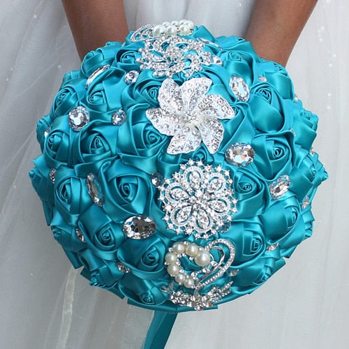 Artificial Hand Made Flower Rhinestone Wedding Bouquet -  [product_type] - ShaadiMagic