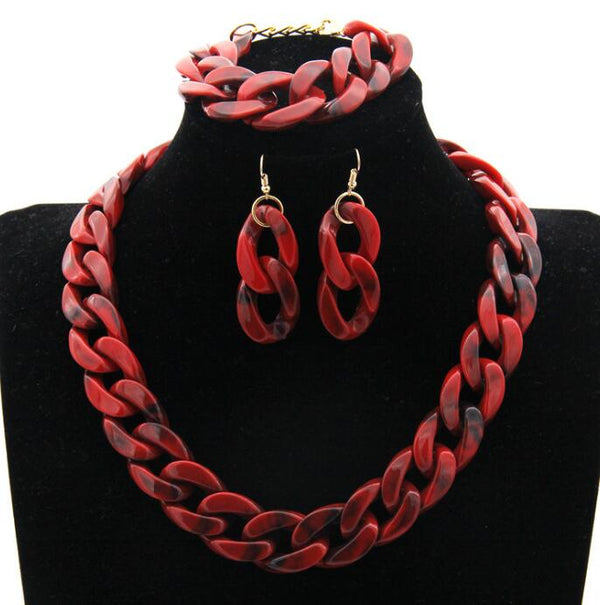 Stone Chain Buckle Necklace Earrings Set -  [product_type] - ShaadiMagic