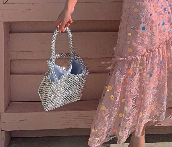 Silver Bucket Beaded Party Bag -  [product_type] - ShaadiMagic