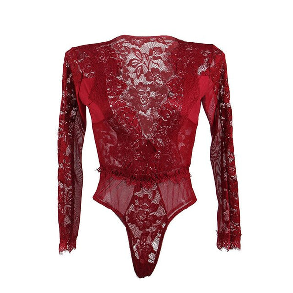 Lace Open-Chest Long Sleeve Bodysuit -  [product_type] - ShaadiMagic