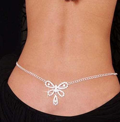 Sexy Glittery Silver Rhinestone Crystal Belly Waist Chain -  [product_type] - ShaadiMagic
