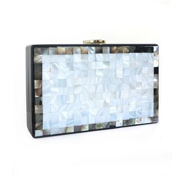 Mini Square Box Acrylic Beading Pearl Handbag -  [product_type] - ShaadiMagic