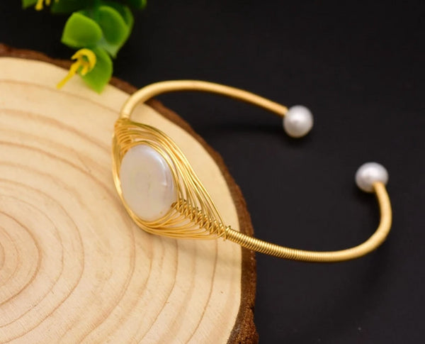 Handmade Natural Pearl Fine Jewelry Bangle -  [product_type] - ShaadiMagic