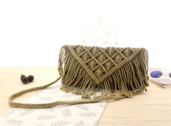 Tassel Straw Cotton Hand-Woven Bag -  [product_type] - ShaadiMagic