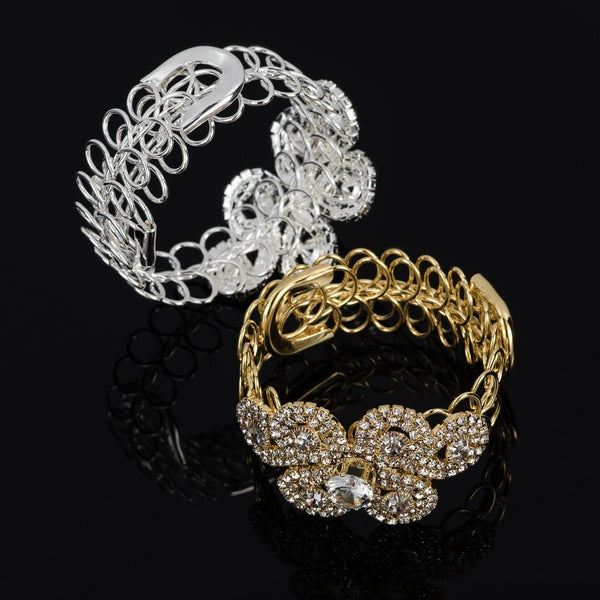 Handmade Silver & Gold Rhinestone Chain Bracelet Bangle -  [product_type] - ShaadiMagic