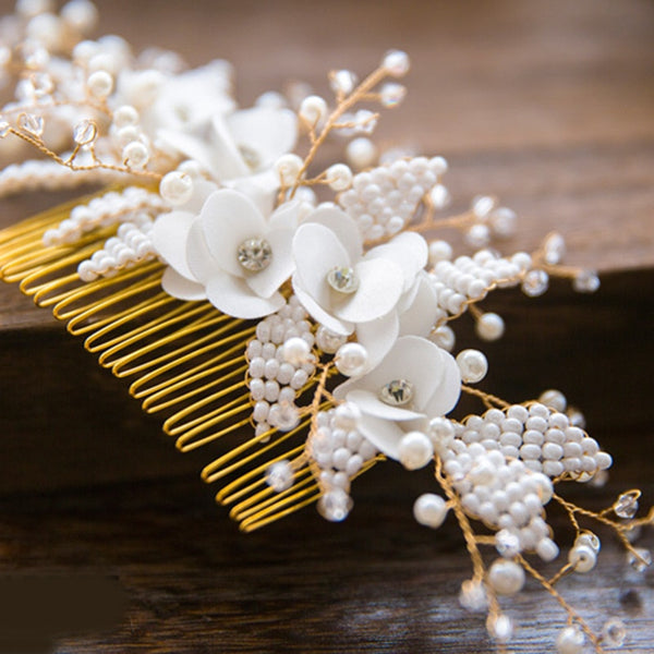 Gold Hair Comb Pearl Beads Headpiece -  [product_type] - ShaadiMagic