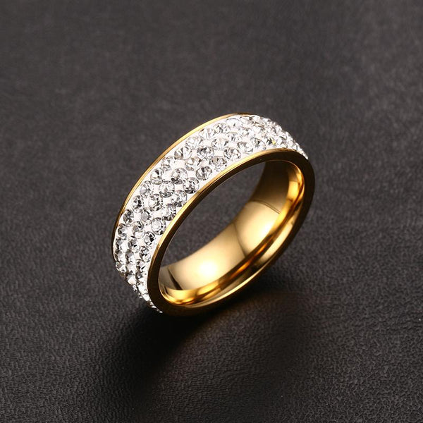 Vintage Wedding Rings for Women 3 Row Crystal