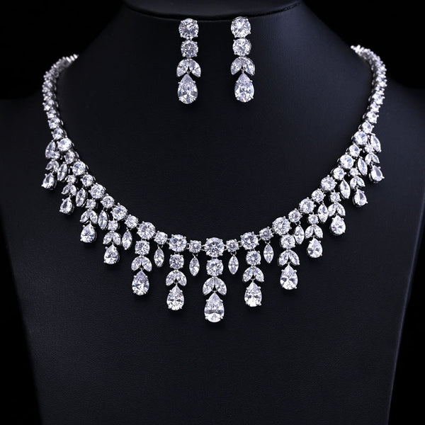 Sparking Cubic Zircon Drop Earring Necklace -  [product_type] - ShaadiMagic