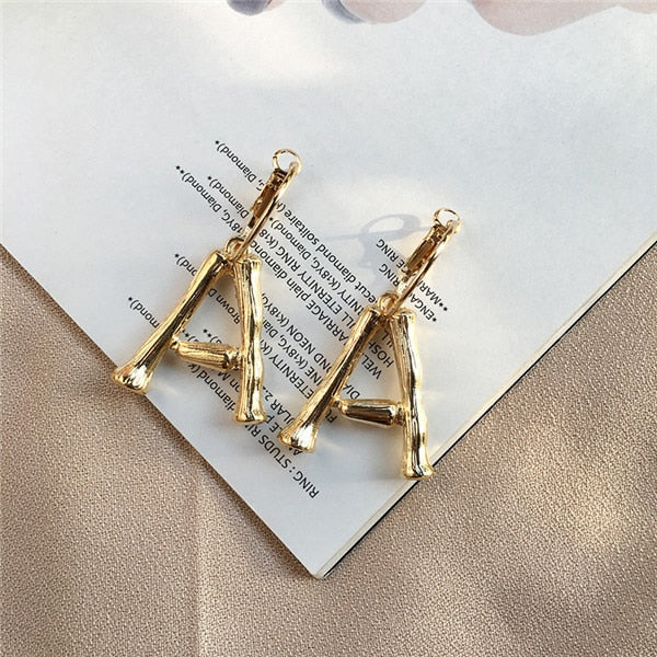 A~Z Gold hoop Alphabet Earrings -  [product_type] - ShaadiMagic
