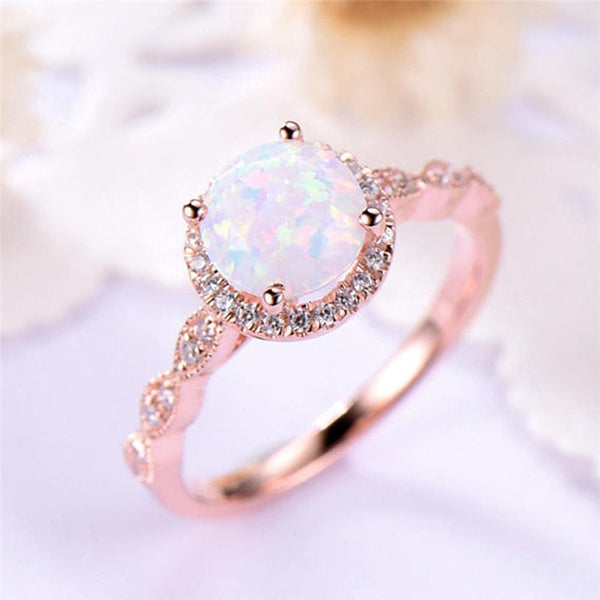 Round Fire Opal Rings Rose Gold Engagement Ring with Gift Box -  [product_type] - ShaadiMagic