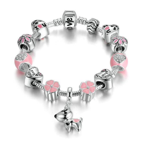 Lovely Dog Pink Heart Flower Charms Bracelet -  [product_type] - ShaadiMagic