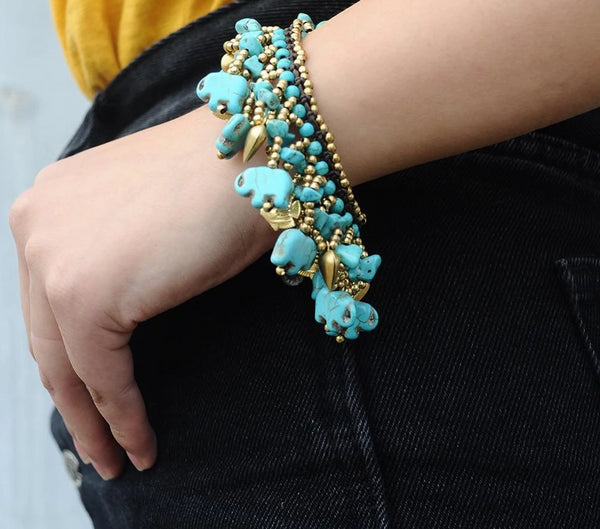 Natural Stone Tassel Bracelet Bangle -  [product_type] - ShaadiMagic