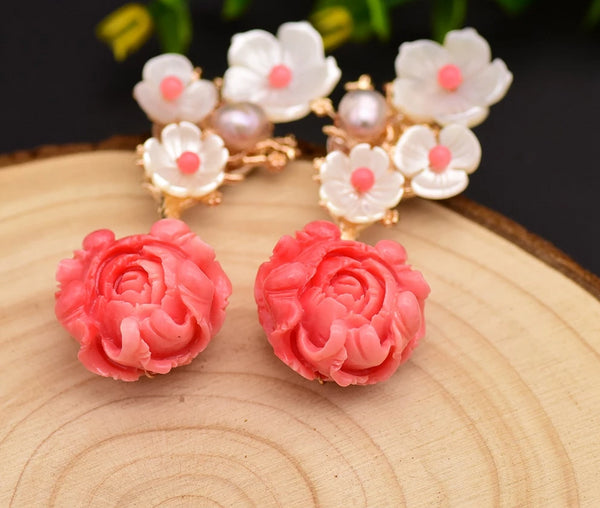 Coral Drop White Pearl Pink Flower Dangle Earrings -  [product_type] - ShaadiMagic