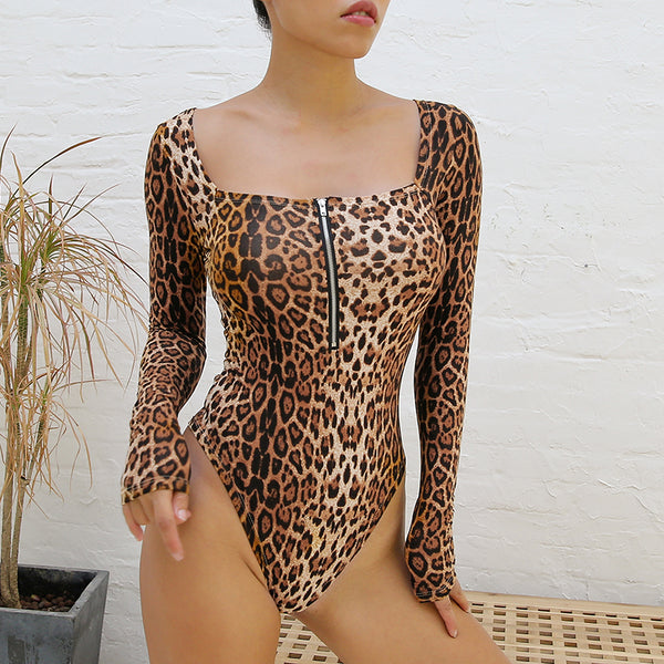 Leopard Square Collar Zipper Bodysuits -  [product_type] - ShaadiMagic