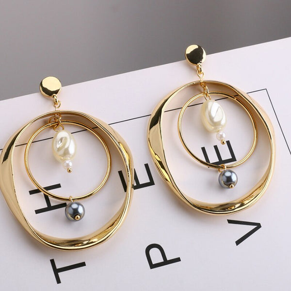 Alloy Double Circle Pearls Dangle Earrings -  [product_type] - ShaadiMagic