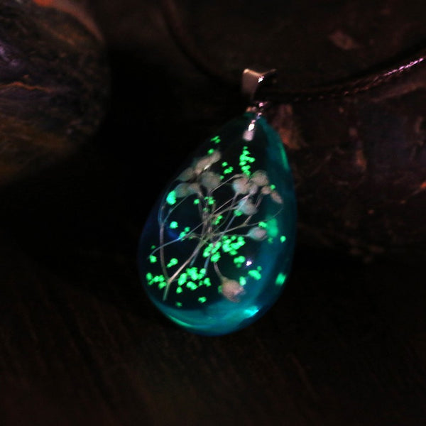 Handmade Natural Gypsophila Dried Flowers Glow in the Dark Pendant Necklace -  [product_type] - ShaadiMagic