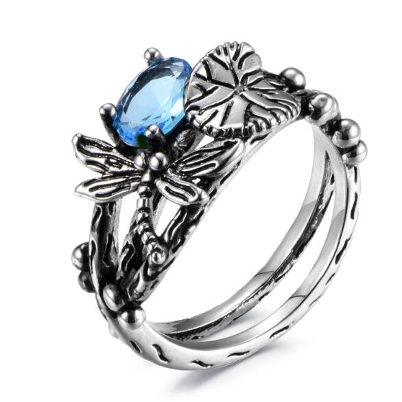 Black Lotus Leaf Dragonfly Rings -  [product_type] - ShaadiMagic