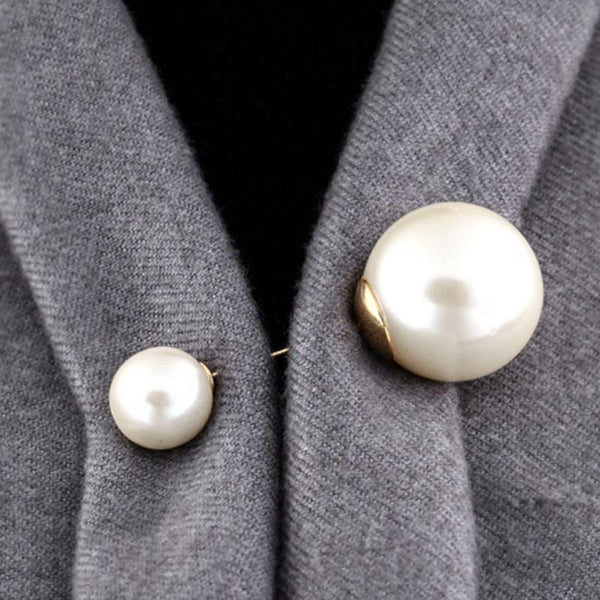 Vintage Plated Double head Imitation Pearl Brooch -  [product_type] - ShaadiMagic