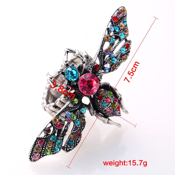 Colorful Crystal Stone Inlaid Bee Fashionable Ring -  [product_type] - ShaadiMagic
