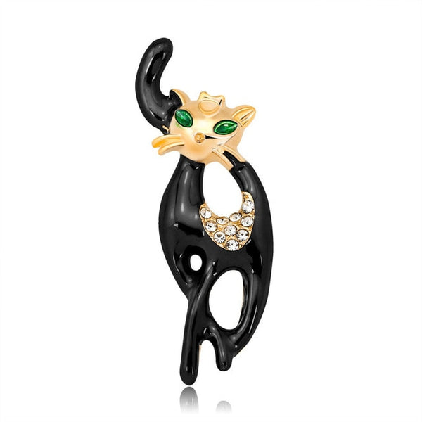 Lively Cute Crystal Cat Brooch -  [product_type] - ShaadiMagic