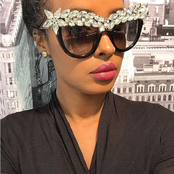 Luxury Cat Eye Crystal Rhinestone Diamond Sunglasses -  [product_type] - ShaadiMagic