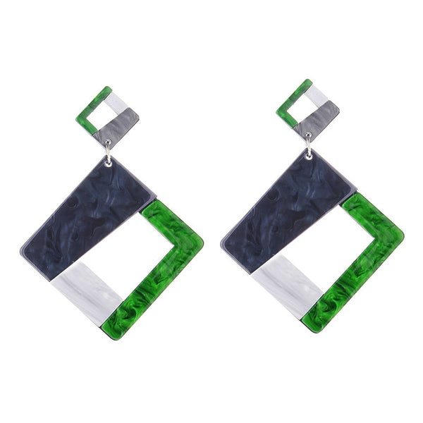 Geometric Square Shape Acrylic Drop Earrings -  [product_type] - ShaadiMagic