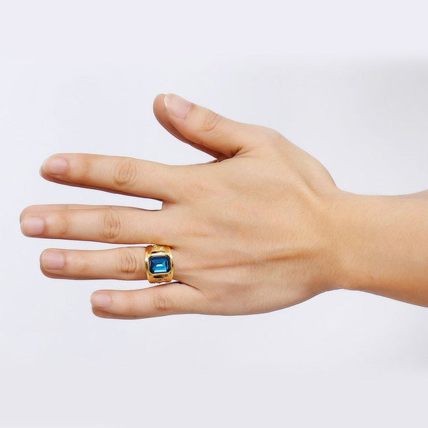 Men's Ring with Red Blue CZ Stone in Gold