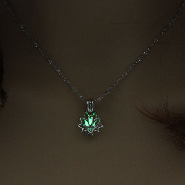 Luminous Glow in Dark Lotus Flower Shaped Pendant Necklace -  [product_type] - ShaadiMagic