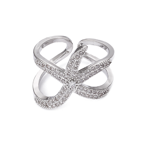Adjustable Ring Starfish Paved Shiny White Crystals -  [product_type] - ShaadiMagic